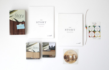 The Story Bible, Story Training Guide, Story Training Guide with eader notes, the Story Bracelet, the Story Booklet pack of 20, Conversation Cards 20pk, and The Story Film.