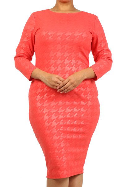 Blushing Diva - Coral Houndstooth 3/4 Sleeve Body-Con Plus Dress ...