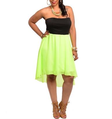 Lime Light - Neon Green/Black Strapless High-Low Plus Size Dress