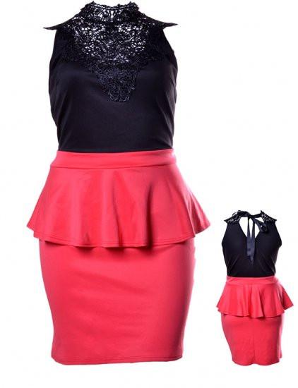 Flirt Alert - Black/Orange Laced Back Tie Plus Size Peplum Dress