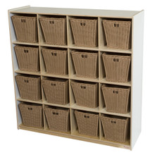 WD50916WHT-719 (16) White Cubby Storage with Medium Baskets