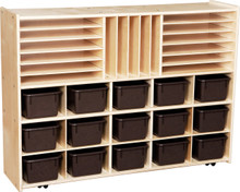 C14002F-C5 Contender™ Multi-Storage with (15) BrownTrays - Assembled with Casters