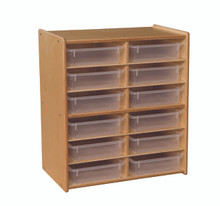 C990659CT Contender™ 12 Letter Tray Cubby Storage with Translucent Trays - RTA