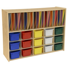 Contender 15 Assorted Bin Cubby Storage with Paper Slots- Assembled