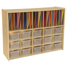 Contender 15 Translucent Bin Cubby Storage with Paper Slots- Assembled