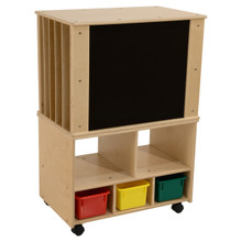 Contender Mobile Magnetic Teaching Organizer with 3 Assorted Bins- Assembled