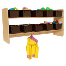 Wall Hanging Storage with (10) Brown Trays