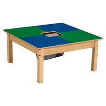 Time-2-Play Blue and Green Lego Compatible Table - Square