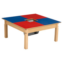 Time-2-Play Blue and Red Lego Compatible Table - Square