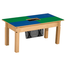 Time-2-Play Blue and Green Lego Compatible Table - Rectangle