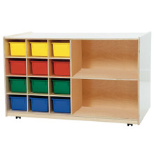 WD16502 12 Brown Trays Plus Shelving Storage
