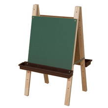 WD17500BN Toddler Size Double Chalkboard Easel w/Brown Trays