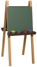WD18900BN Double Adjustable Easel with Chalkboard & Brown Trays