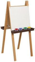 WD18925BN Double Adjustable Easel with Markerboard & Brown Trays