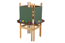 WD19175BN 4 Sided Easel with Chalkboard & Brown Trays