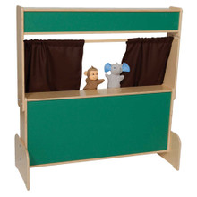 WD21650BN Chalkboard Puppet Theater w/Brown Curtains