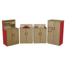 WD10002R Set of (4) Strawberry Red™ Classic Appliances with Deluxe Hutch