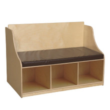 WD990248BN Reading Bench with Storage with Brown Cushion