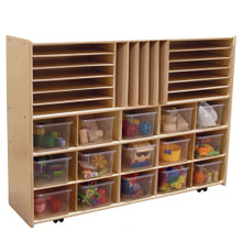 "C14001F-C5 Multi-Storage w/15 Translucent Trays, 35½""H, Assembled w/Casters"
