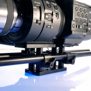 Left front view Sony FS700 baseplate shown with camera.