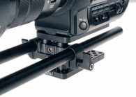 Front View of Sony FS5 Baseplate on camera, iris rods sold separately.