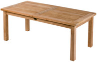 Teak Rectangular fixed table. 150cm by 90cm wide, the table will comfortably seat 6. It has a parasol hole to take a 48mm pole.