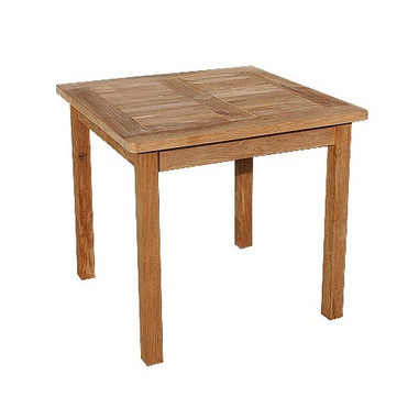 Teak Rectangular fixed table. 90cm by 90cm, the table will comfortably seat 4. It has a parasol hole to take a 48mm pole.