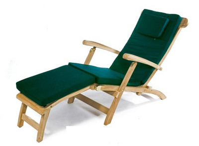 You can add a Green cushion to your teak steamer chair.