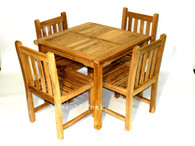 Square 90cm x 90cm fixed table with 4 heavy duty straight back chairs.