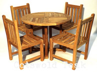 Teak Round 100cm diameter Table with 4 Heavy Duty Side Chairs