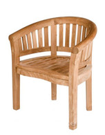 Fixed curved backed carver chair.