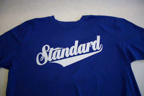Genuine Tee in Royal Blue with White print.