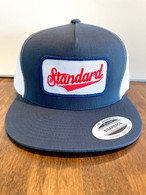 The original trucker hat with a mesh back.  Blue/white with a red/white/blue Genuine logo patch.