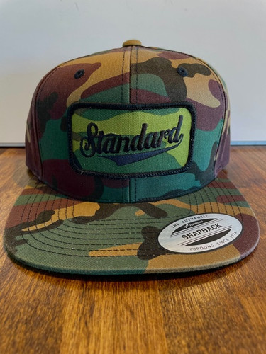 The limited edition camo snapback w/patch hats are back in stock, get your camo on, kids.   Snap back adjustable, one size fits all, Herman.