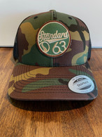 This has been a shop exclusive for awhile, now you can order it online.  The classic Standard 3/4 mesh trucker hat with new G63 sewn on patch.  Camo front, black mesh black. Snap back adjustable, one size fits all, low profile.
