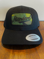 Our best selling color combo in a low profile version, so it fits like a baseball hat.  Black front, black mesh back, camo patch.