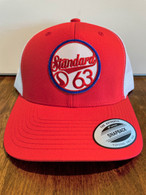 A brand new color combo for summer.  Trucker hat in the low profile version with a red front with white mesh back with a red/white/blue G63 patch.  Stay cool and look cool.