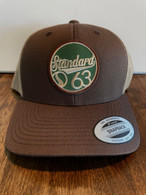 The low profile trucker hat with a brown front and tan mesh back w/ a green/tan G63 patch.  If you like earth tones, this hat is for you.