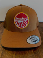 This is everyone in the shops favorite hat.  It's a rich camel brown, low profile mesh back hat with a red/white/gold G63 patch.