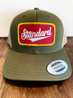"""You've seen Mike from """"American Pickers"""" getting some of his best picks in this hat.  It's our low profile mesh hat, olive green front and a tan back with the Genuine logo patch in red/white/gold."""