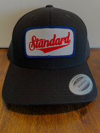 An all black hat in a low profile version, so it fits like a baseball hat.  Black front, black mesh back, Genuine logo patch in red/white/blue.