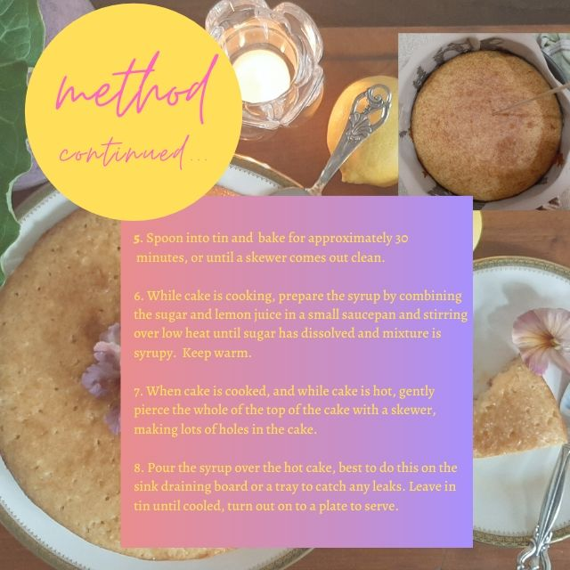 Lemon cake recipe method.