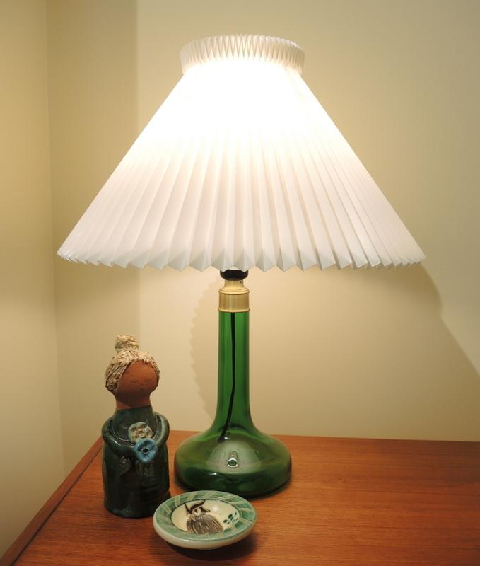 Le Klint 343 Green Glass Table Lamp Holmegaard base. 1970