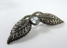 Vintage Sterling Silver Marcasite and Rock Crystal Brooch Germany