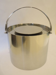 Vintage Danish Stelton Stainless Steel Cylinda-Line 2.5L Ice Bucket and Tongs
