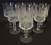 8 Danish Lyngby Ornately Cut Lead Crystal Offenbach Red Wine Glasses