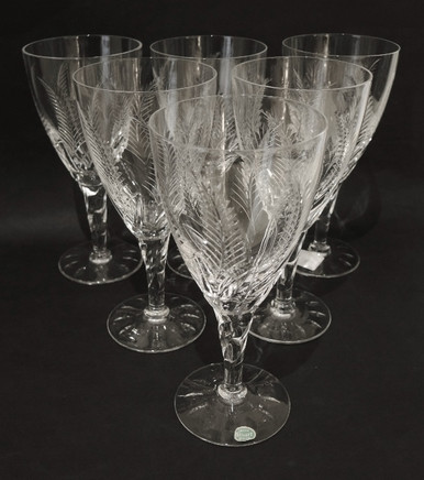 6 Stuart Crystal Ellesmere Red Wine Glasses or Water Goblets