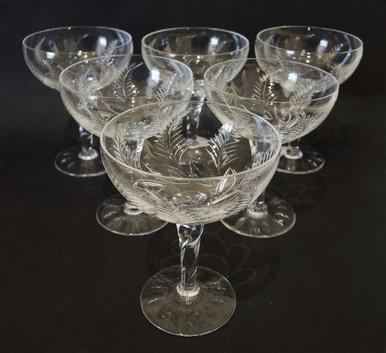 6 Tall Stuart Crystal Ellesmere Champagne Saucers or Glasses
