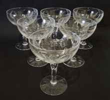 6 Tall Stuart Crystal Ellesmere Champagne Saucers or Glasses