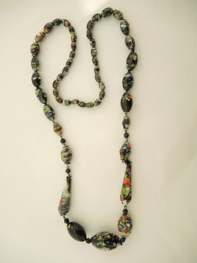 Vintage Art Glass Necklace End of the Day Glass